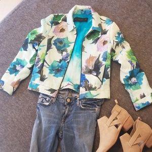 Zara basic floral moto jacket size small S